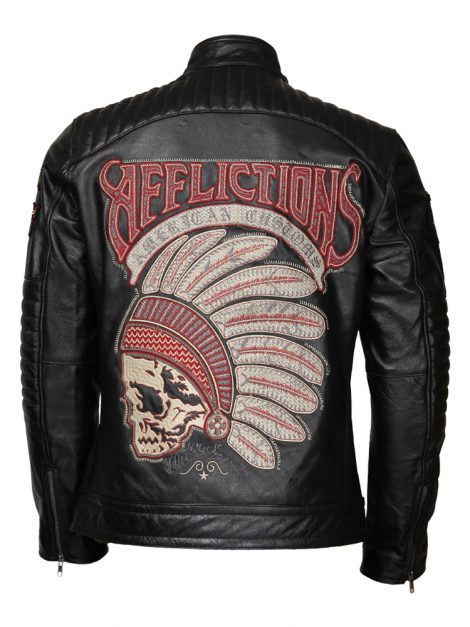 Black Affliction Leather Biker Jacket