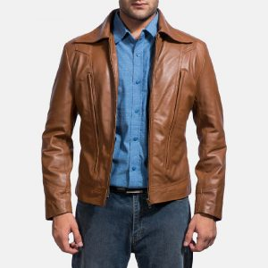 Old School Mens Brown Leather Jacket