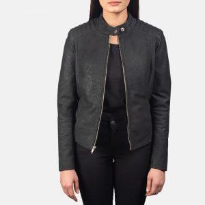 Womens Distressed Black Leather Biker Jacket