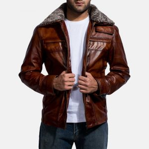 Men Chocolate Brown Leather Jacket With Fur
