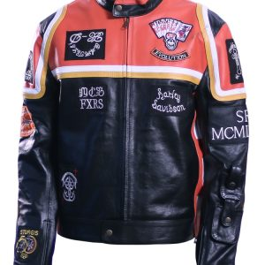 Mens Biker HDMM Leather Jacket