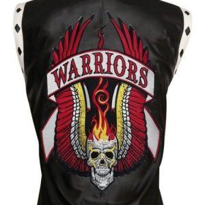 Mens Black warriors leather vest