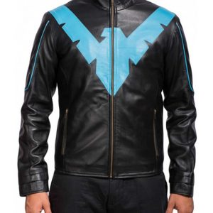 Mens Superhero Nightwing Leather Jacket