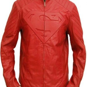 Superman Red Leather Jacket Costume