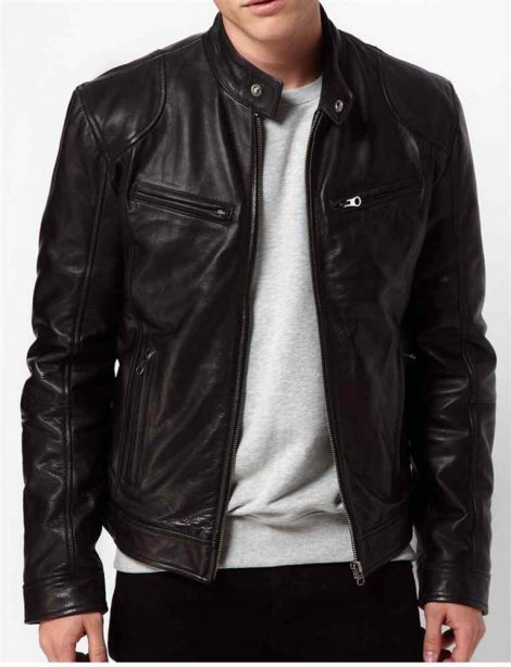 Mens Motorcycle Sword Leather Jacket