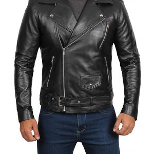 black real leather jacket mens