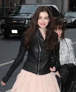 Anne Hathaway Leather Jacket Black