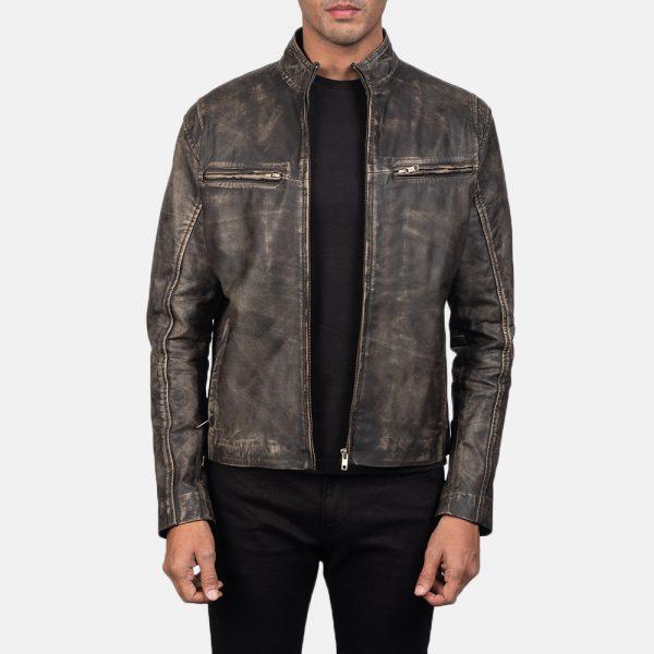 distressed cafe racer leather jacket