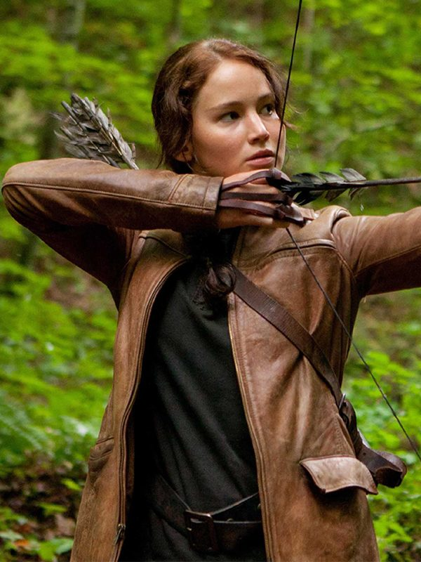 katniss everdeen jacket brown leather cheap