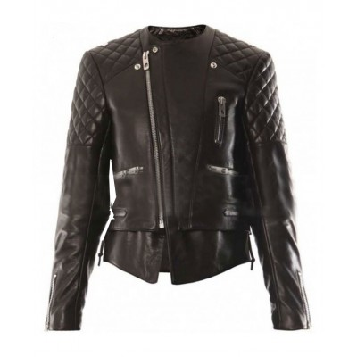 kristen stewart balenciaga leather jacket black biker