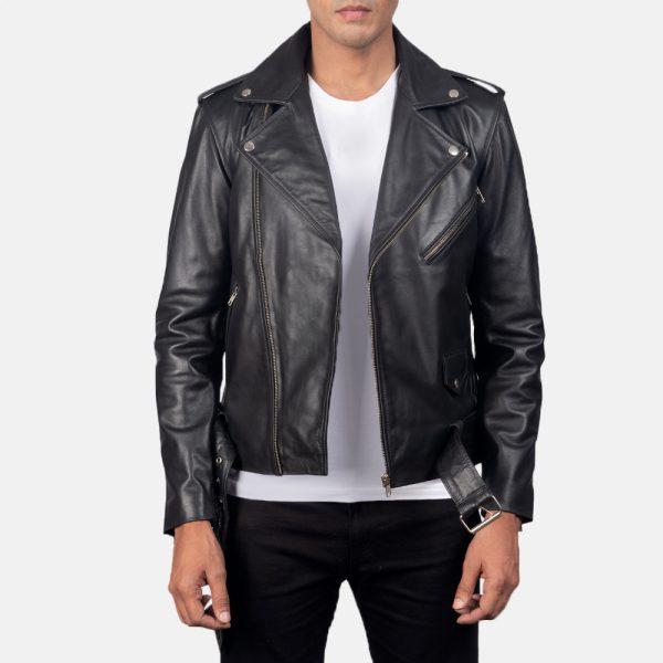 mens black motorcycle leather jacket
