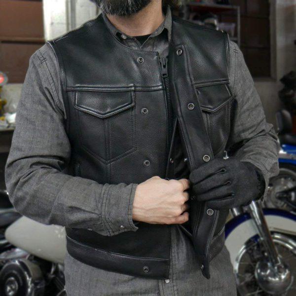 mens black leather motorcycle vest