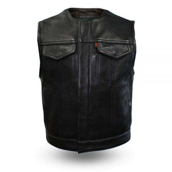 mens black leather vest for bikers
