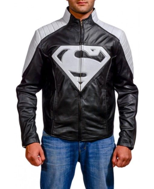 superman black and white leather jacket