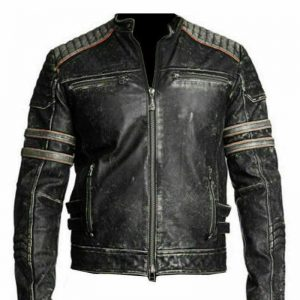 Men's Distressed Black Cafe Racer Leather Jacket