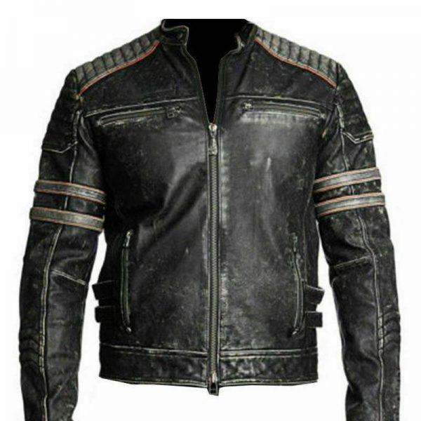 Men's Distressed Black Cafe Racer Leather Jacket