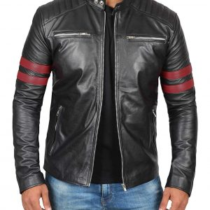 Padded Style Black Men's Leather Jacket