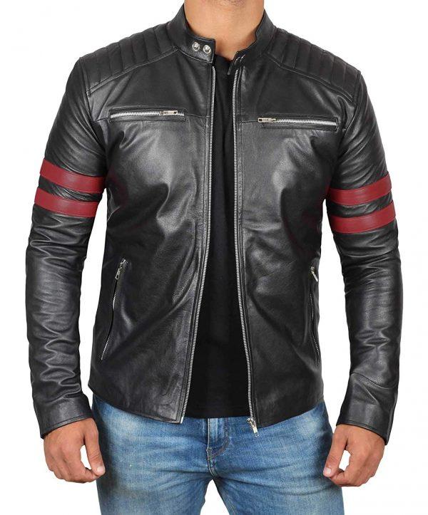 Padded Style Black Men's Leather Jacket
