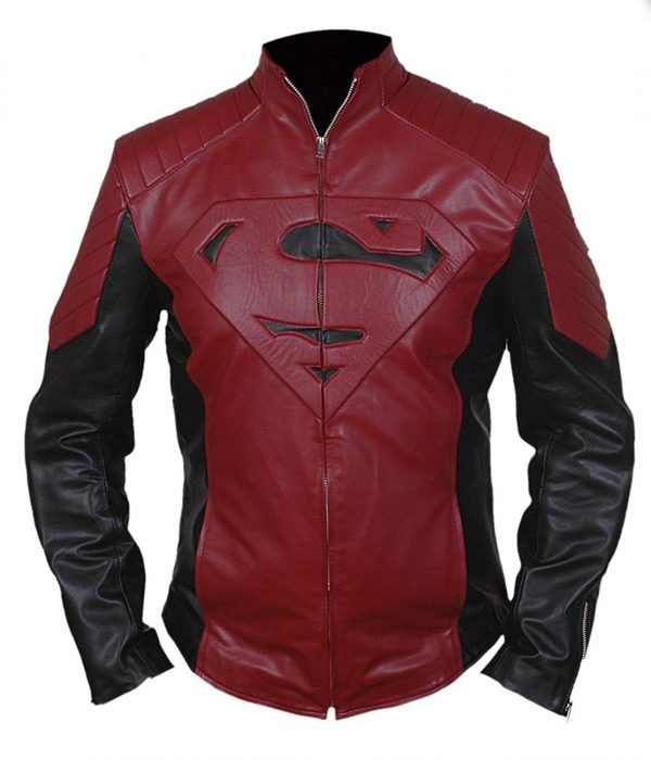 Smallville Red Black Superman Leather Jacket