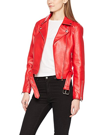 Womens Red Faux Leather Biker Jacket
