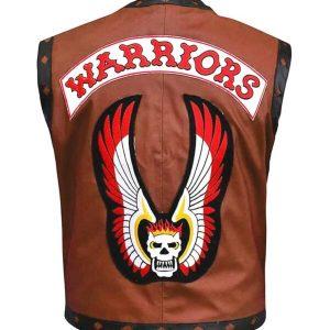 warriors brown leather vest