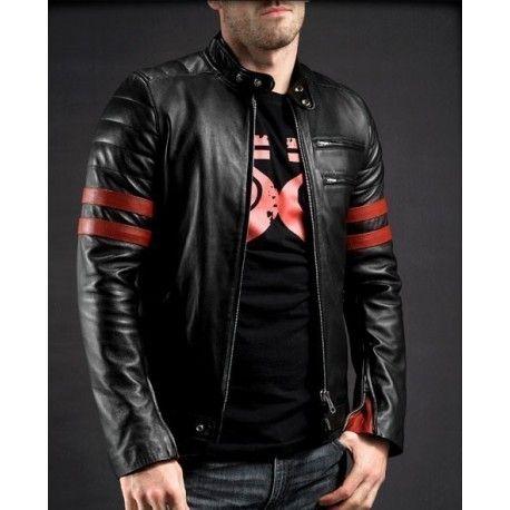 red stripe leather jacket
