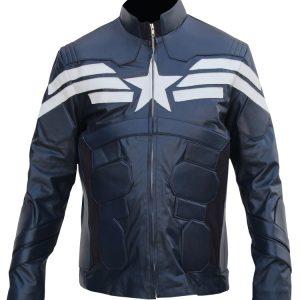 Mens Captain America Leather Jacket Costume