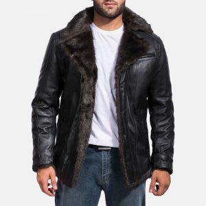 Mens Black Fur Leather Jacket