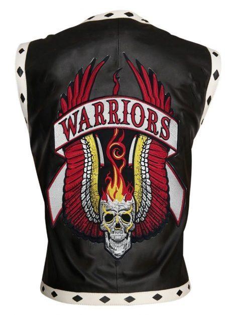 Mens Black warriors leather vest