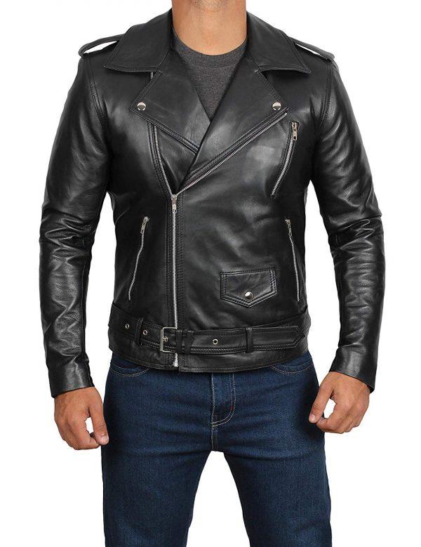 black real leather jacket mens