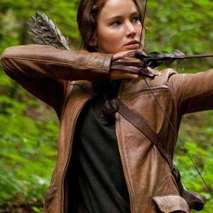katniss everdeen jacket brown leather cheap