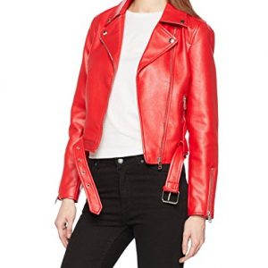 Womens Red Faux Leather Biker Jacket